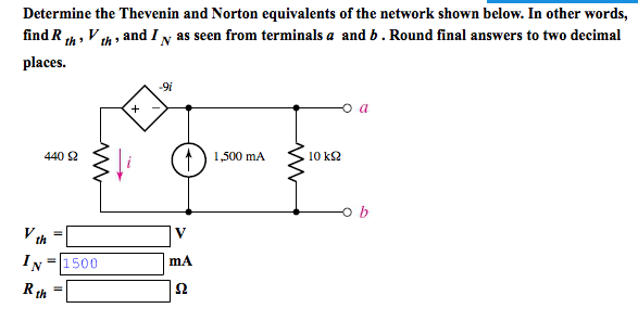 Determine the Thevenin and Norton equivalents of t