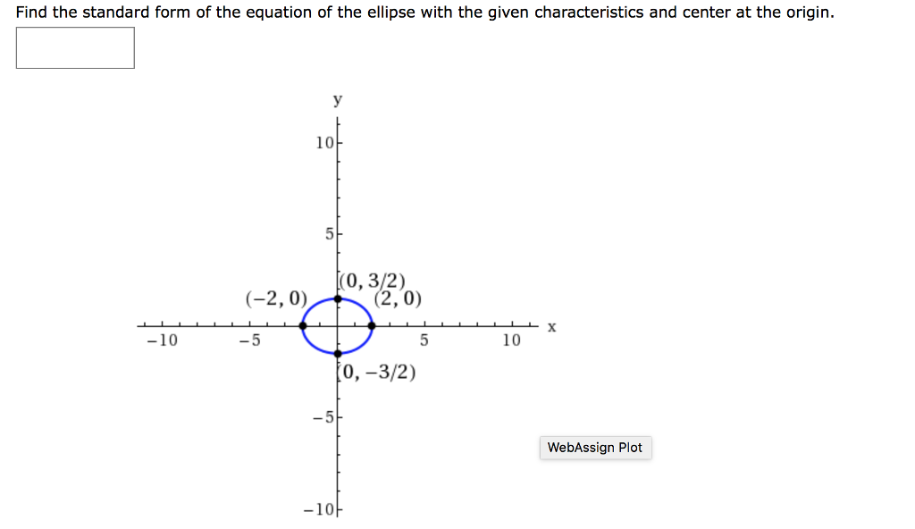 Find The Standard Form Of The Equation Of The Elli Chegg