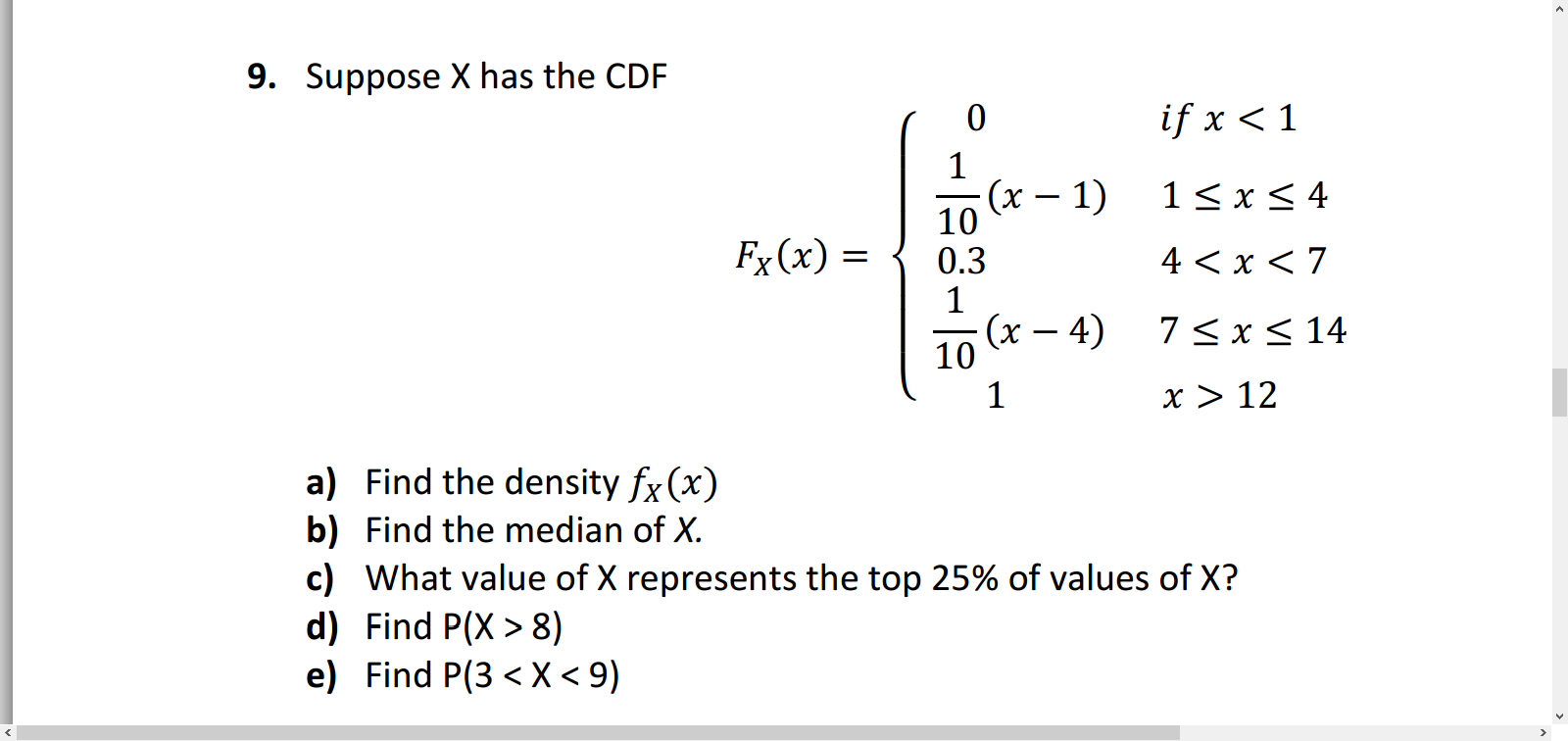 Suppose x has the cdf find the density fxx find chegg suppose x has the cdf find the density fxx fin ccuart Images