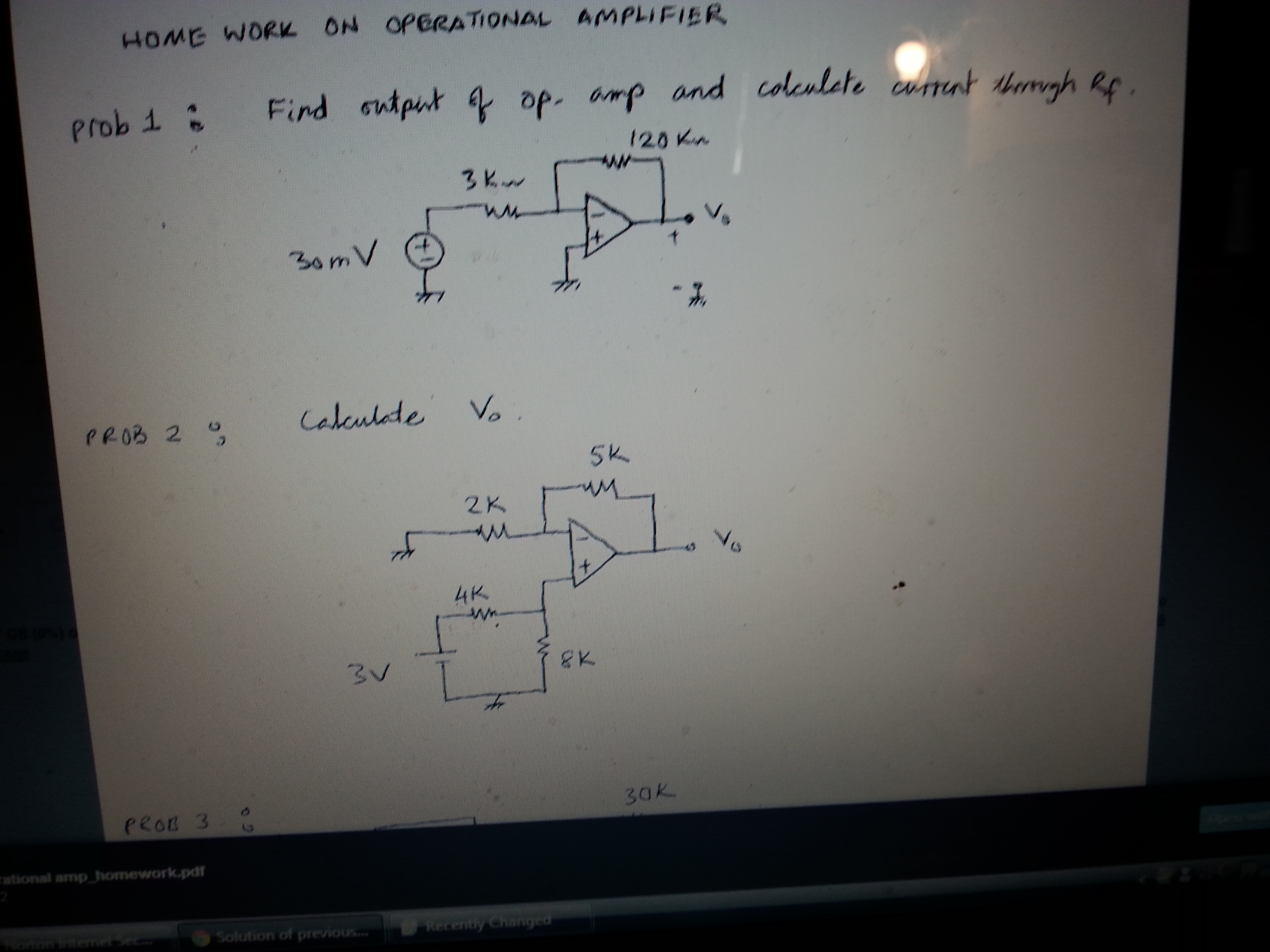 HOME WORK ON OPERATIONAL AMPLIFIER Find output of