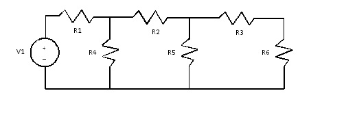 Find the current through R1 and R6, the voltage ac