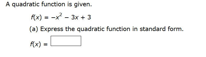 A Quadratic Function Is Given. F(x) = 5x2 - 10x + ... | Chegg.com