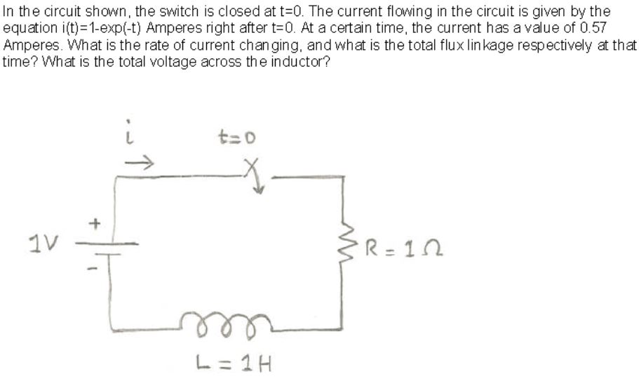 In the circuit shown, the switch is closed at t=0.