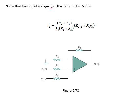 Show that the output voltage vo of the circuit in