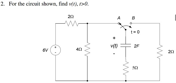 For the circuit shown, find v(t), t > 0.