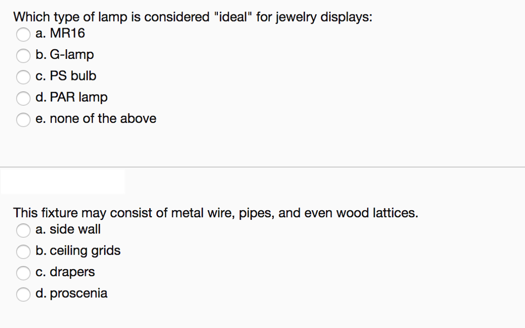 Which Type Of Lamp Is Considered Ideal For Jewelry Displays: A. MR16 B.