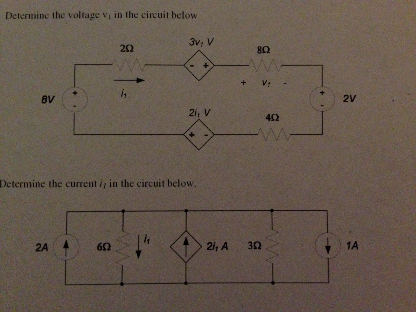 Determine the voltage v1 in the circuit below Det