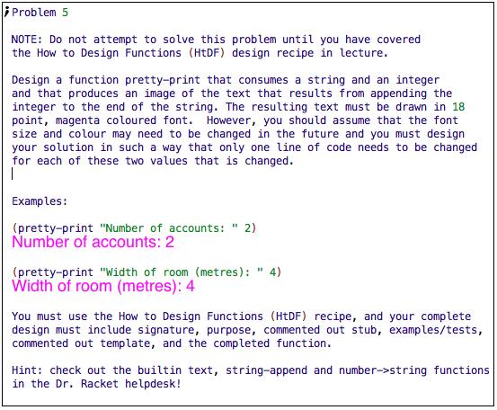 Design a function pretty-print that consumes a str