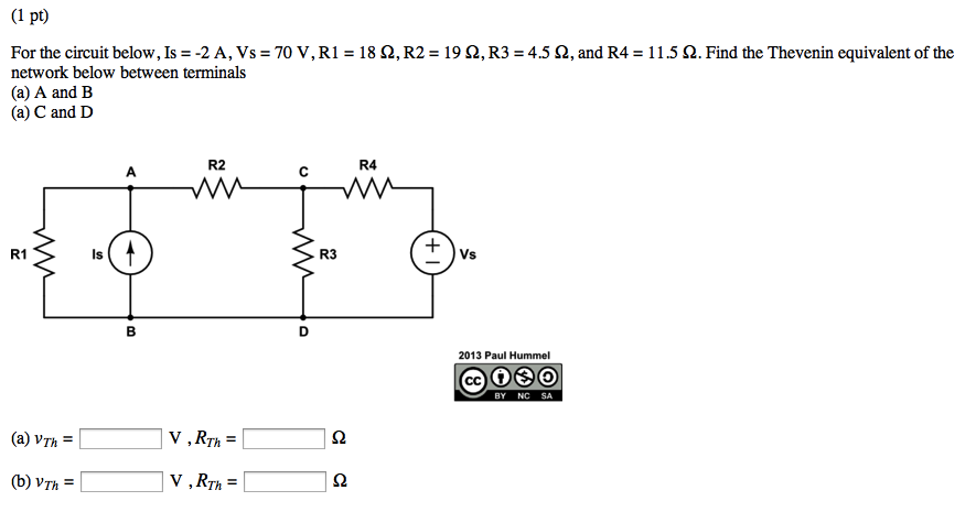 For the circuit below, Is = -2 A, Vs = 70 V, R1 =