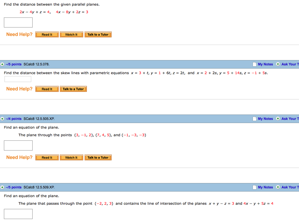 parallel planes equations. find the distance between given parallel planes. 2x-4y + z \u003d 4 planes equations
