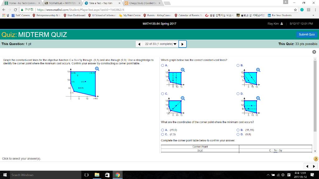 Solved: Home Ivy Tech Commu X MyMathLab MATH 135 X Take A ...