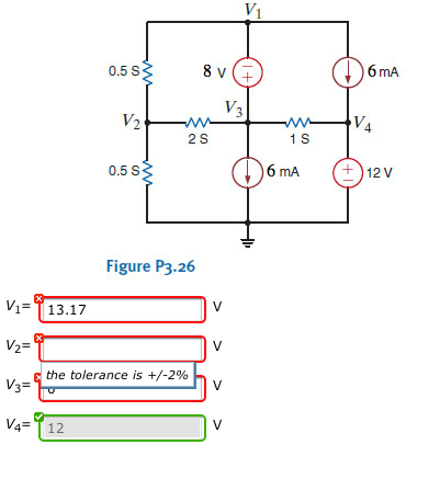 Find (a)V1 and (b)V2 in the circuit in the Figure