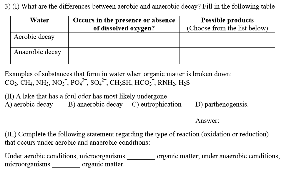 Solved What Are The Differences Between Aerobic And Anaer