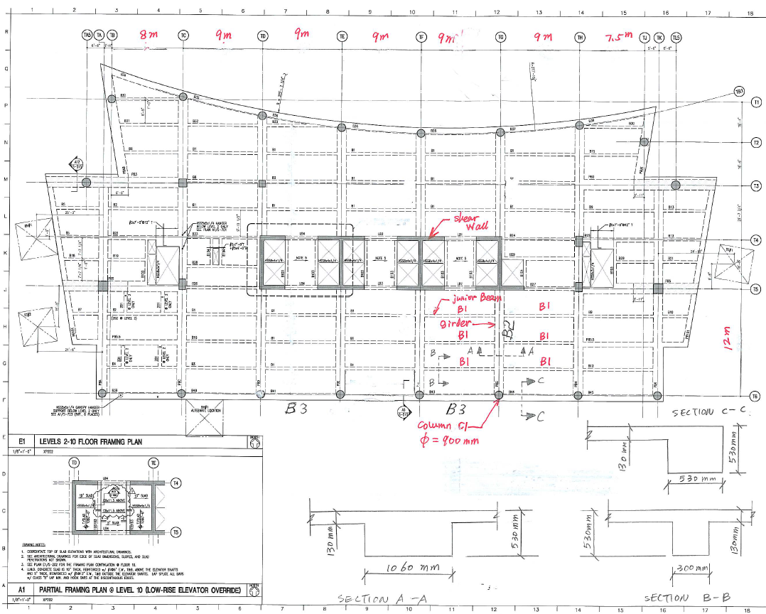 floor plan of the office. show transcribed image text the typical floor plan of a 20story office building is as shown in following figure storey height top slab to l
