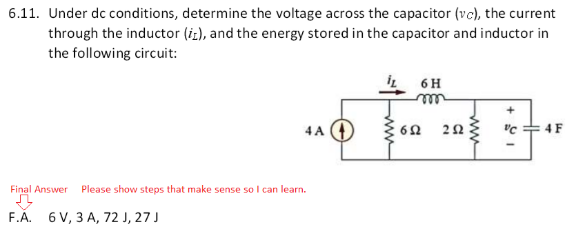 Under dc conditions, determine the voltage across