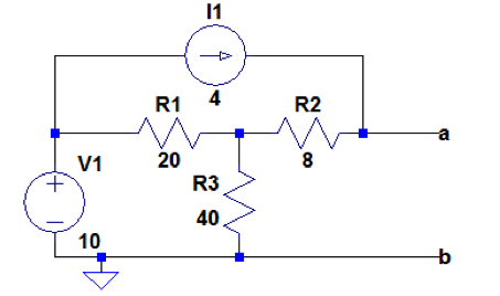 a) Find the Thevenin equivalent of the circuit for