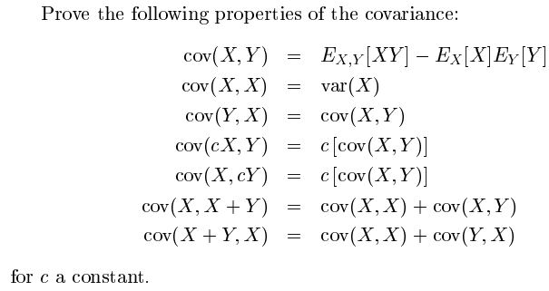 Prove the following properties of the covariance