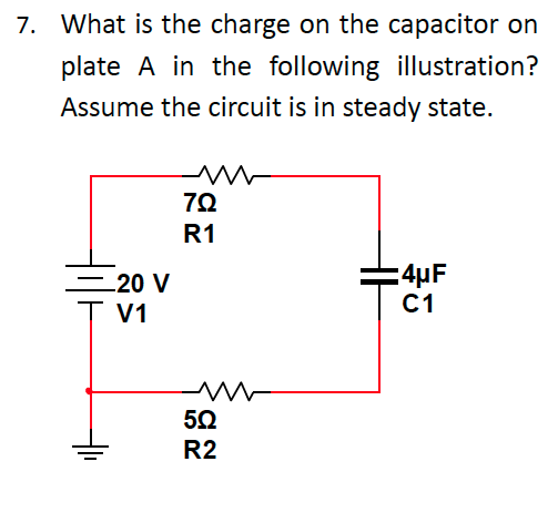 What is the charge on the capacitor on plate A in