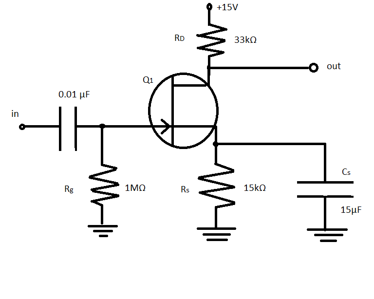 In the FET amplifier circuit shown, estimate the m