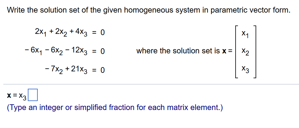 how to find general solution of matrix in parametric form