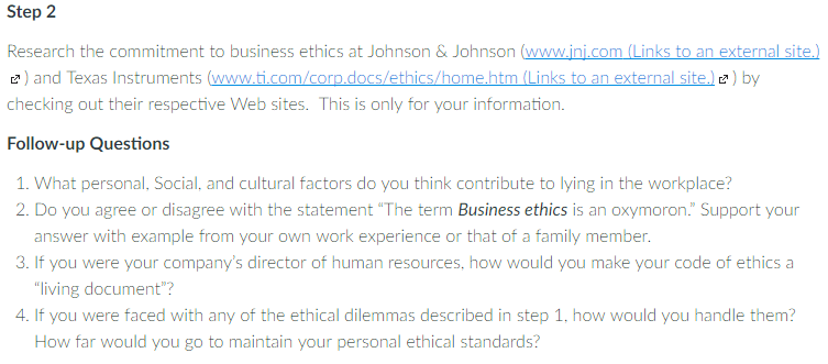 Research the commitment to business ethics at john chegg question research the commitment to business ethics at johnson johnson jnj links to an externa publicscrutiny
