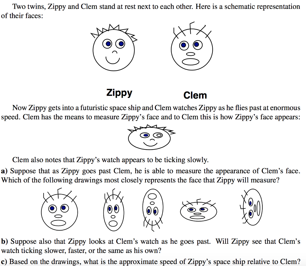 Solved: Two Twins, Zippy And Clem Stand At Rest Next To Ea ...