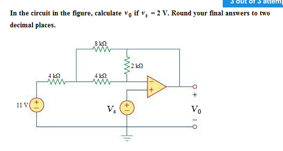 In the circuit in the figure, calculate v0 if vs =