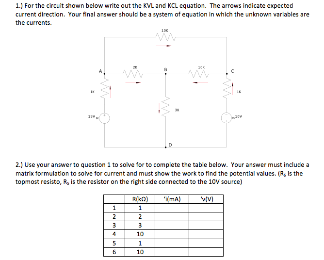 For the circuit shown below write out the KVL and