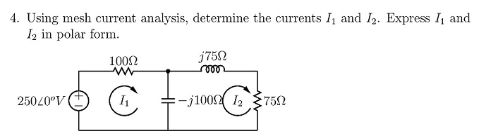 Using mesh current analysis, determine the current