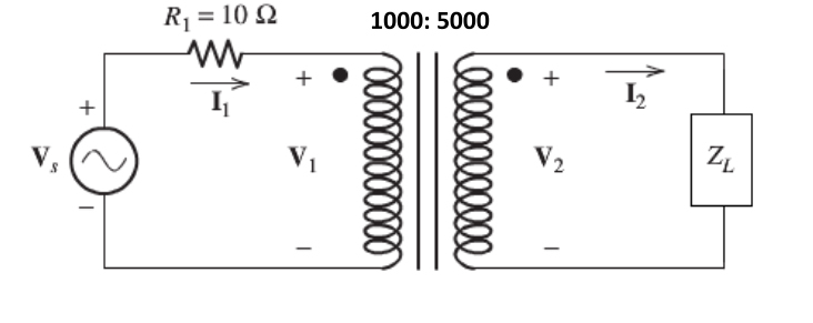 Given the following ideal transformer if ZL=500-j4