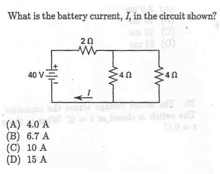 What is the battery current, I, in the circuit sho