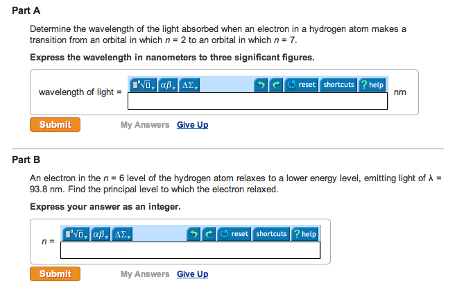 Determine the wavelength of the light absort>ed wh