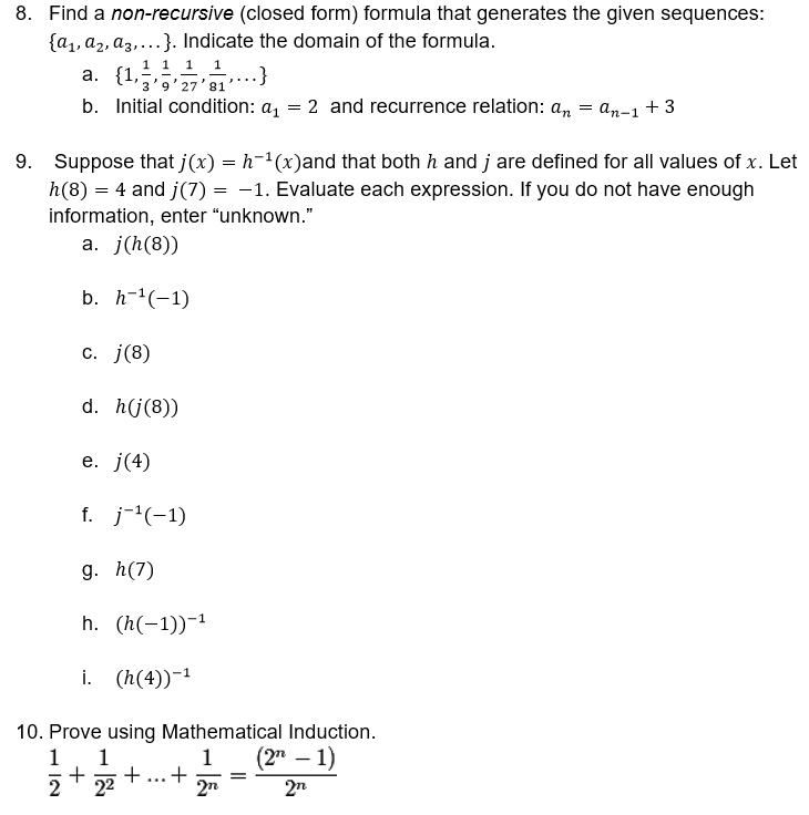 Find A Non-recursive (closed Form) Formula That Ge... | Chegg.com