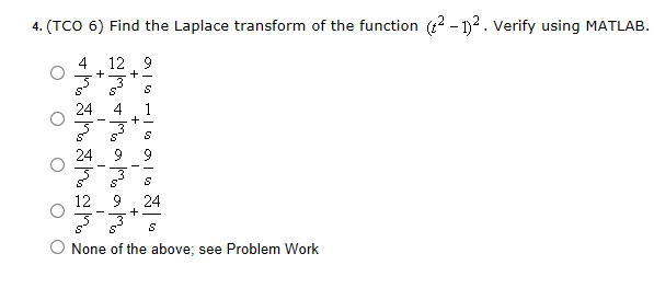 Find the Laplace transform of the function (t2 -1)