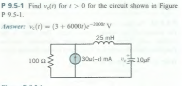 Find Vc(t) for t > 0 for the circuit shown in Figu