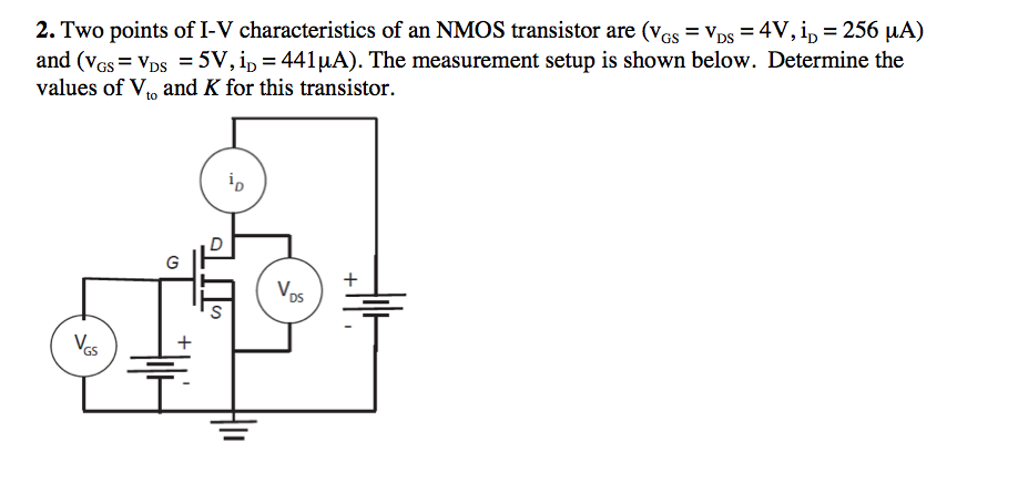 Two points of I-V characteristics of an NMOS trans