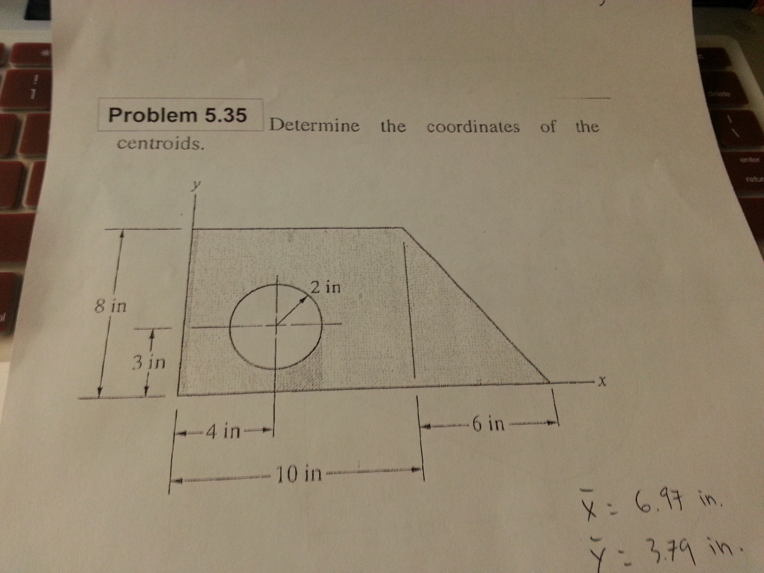 Determine the coordinate of the centroids.