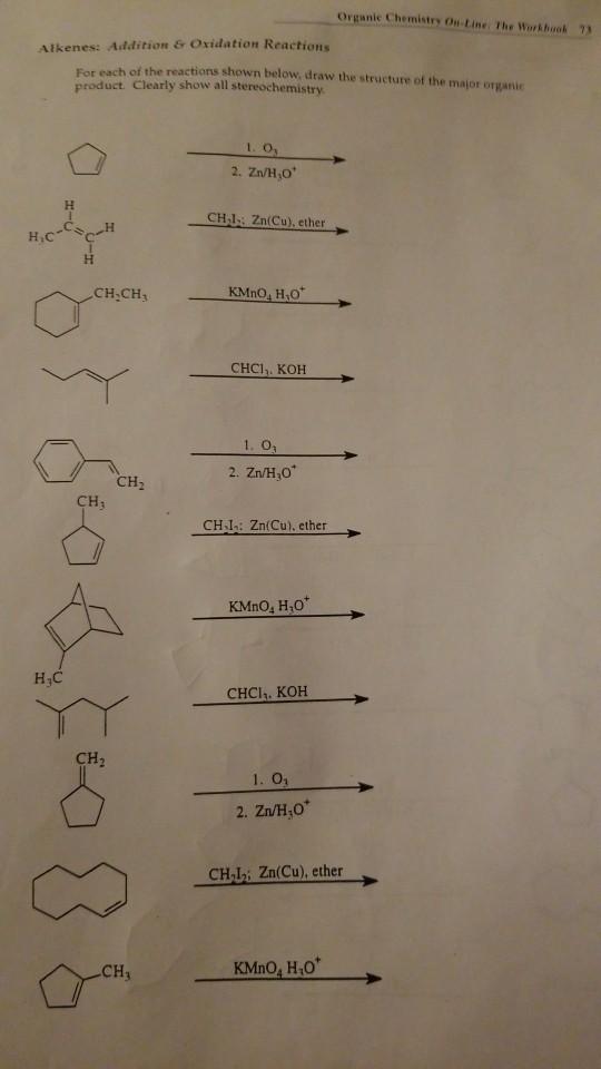 Solved: Organic Chemistry Ou-Line: The Workbook 7 Alkenes ...