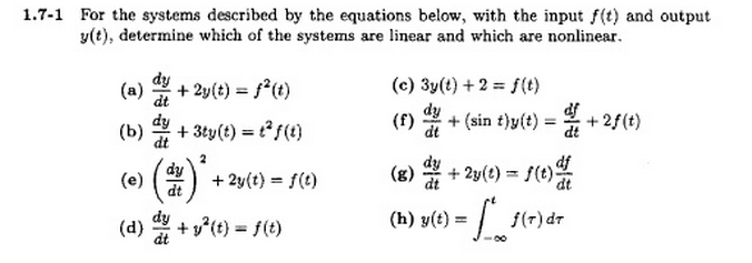 For the systems described by the equations below,