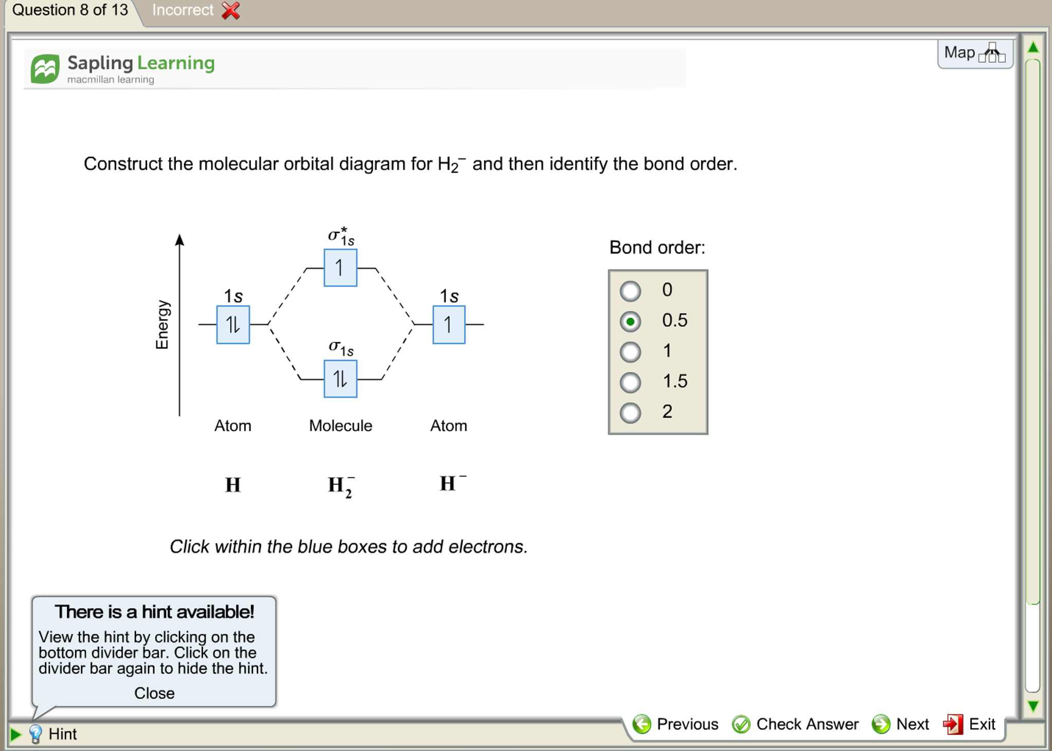 Solved the construction of the molecular orbital diagram question 8 of 13 incorrect x map a a sapling learn pooptronica