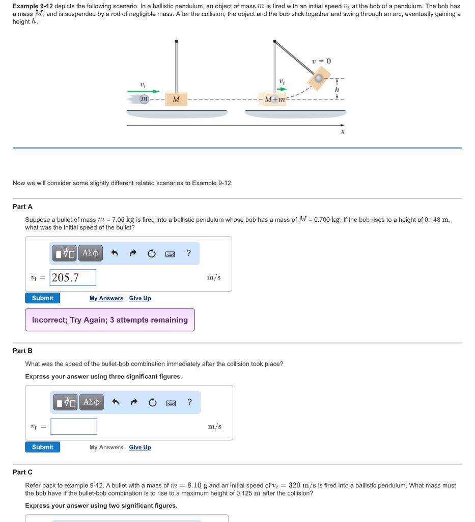 depicts the following scenario in a ballistic pen com example 9 12 depicts the following scenario in a ballistic pendulum an object