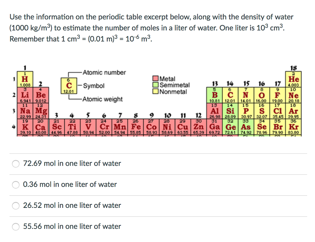 Use the information on the periodic table excerpt chegg question use the information on the periodic table excerpt below along with the density of water 1000 kg gamestrikefo Images