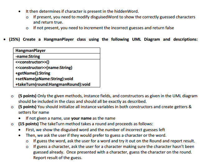 Solved 60 points create a hangmanround class using the question 60 points create a hangmanround class using the following uml diagram and descriptions hangman ccuart Image collections