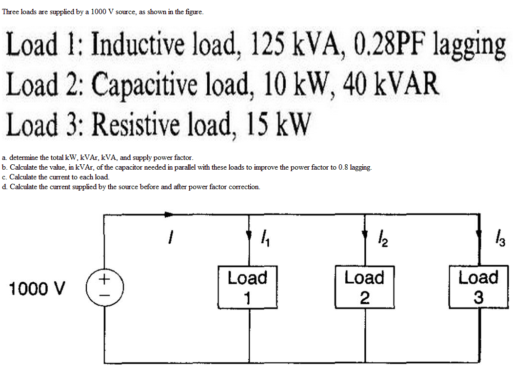 Three loads are supplied by a 100V, source, as sho