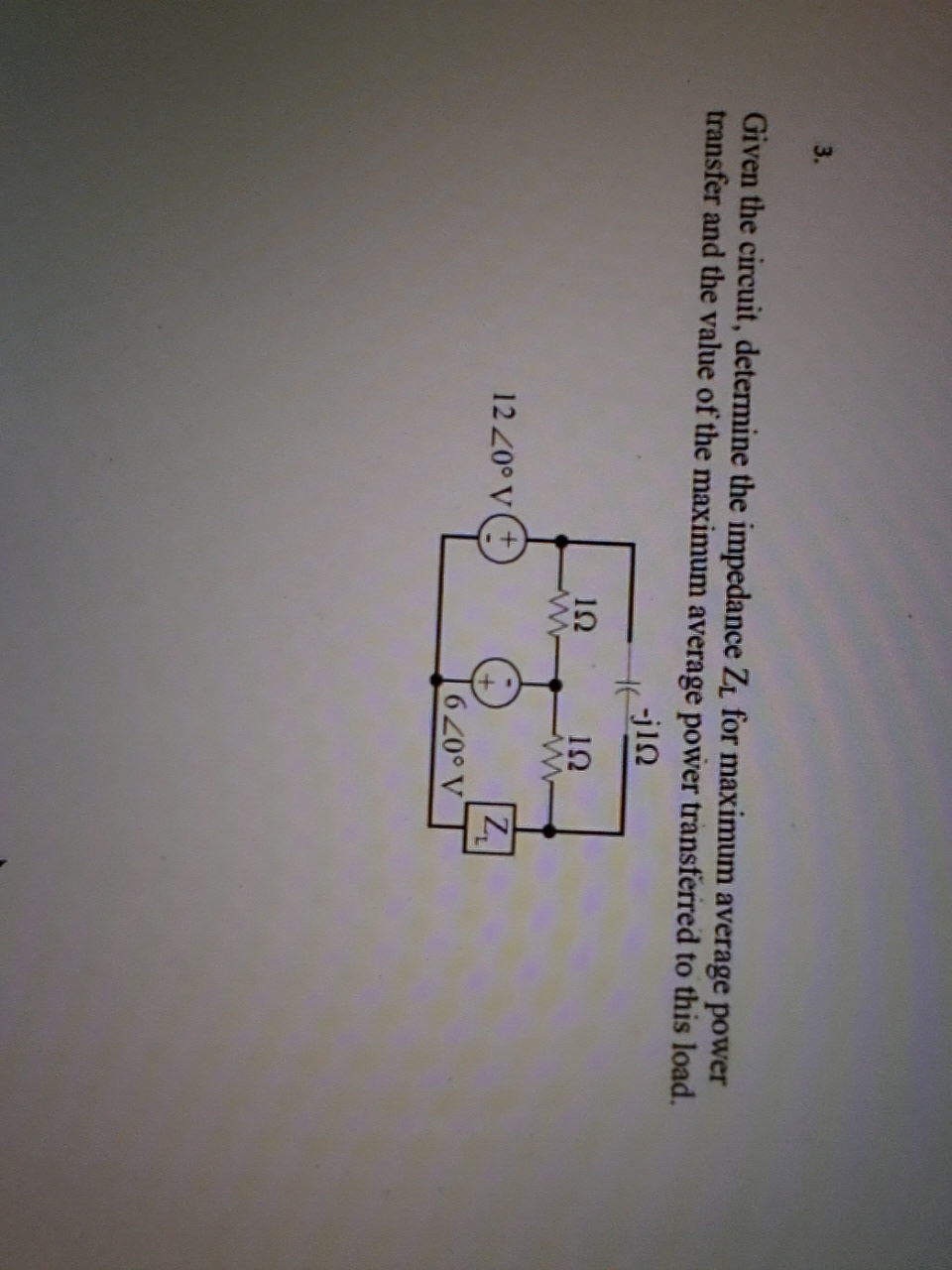 Given the circuit, determine the impedance ZL for