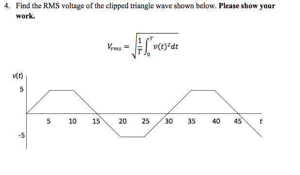 Find the RMS voltage of the clipped triangle wave