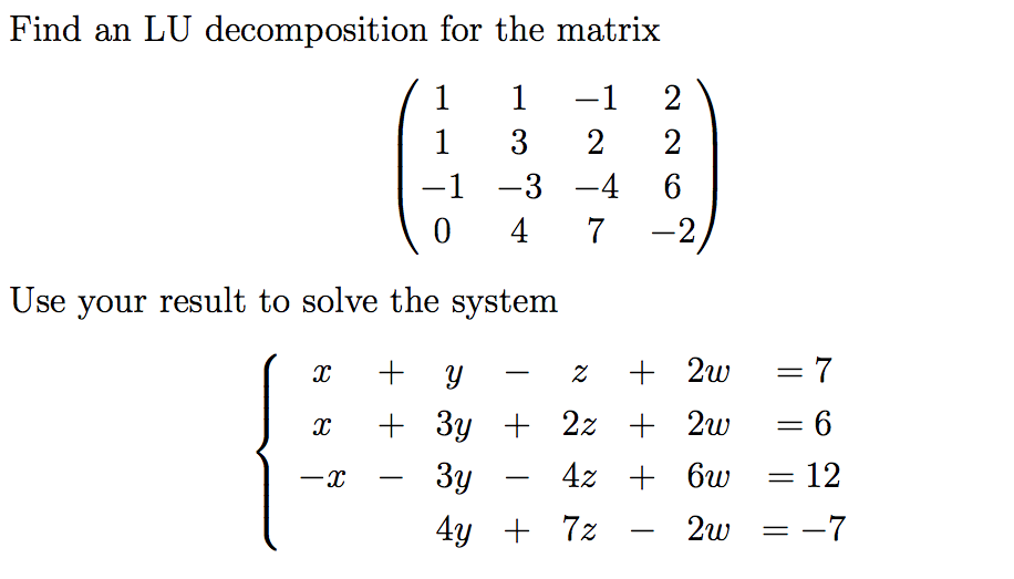 how to solve for x and y in a matrix