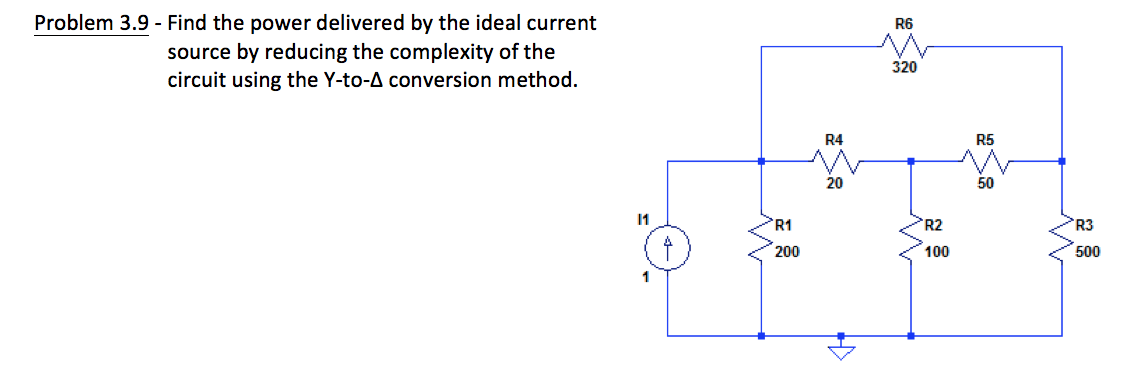 Find the power delivered by the ideal current sour