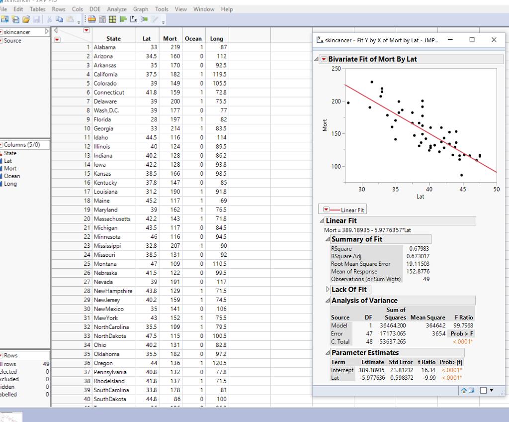 E Edit Tables Rows Cols Doe Analyze Graph Tools Vi