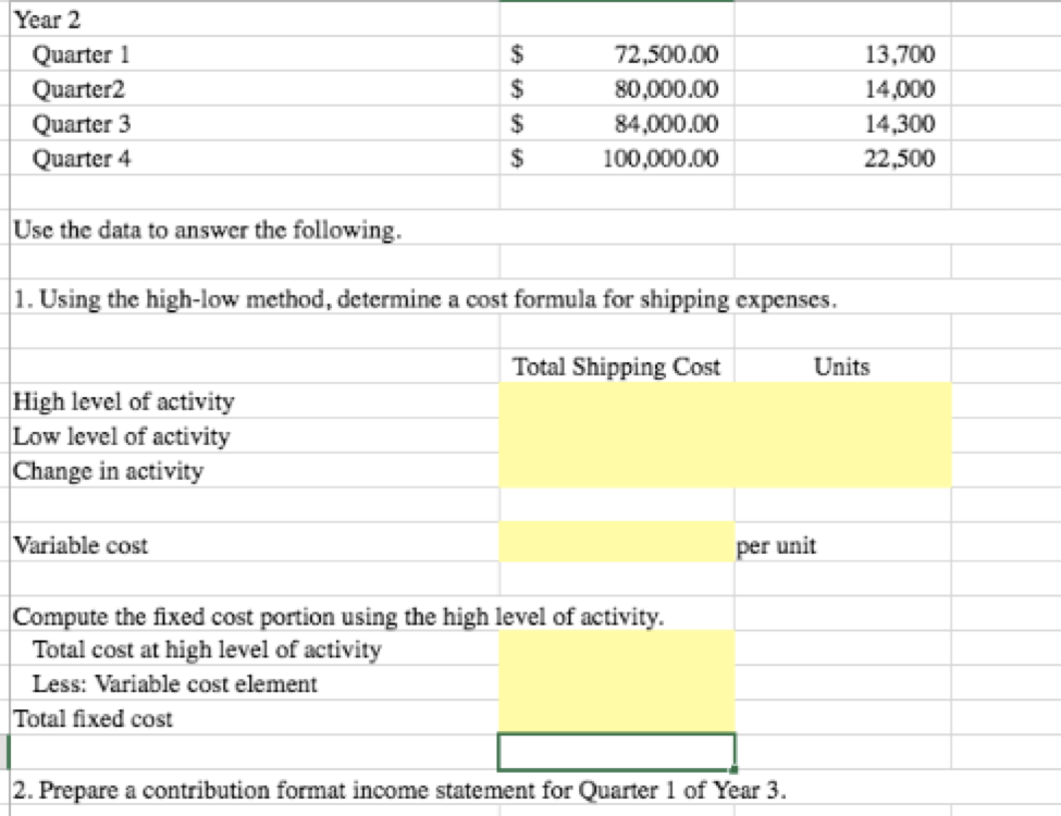 contribution income statement excel